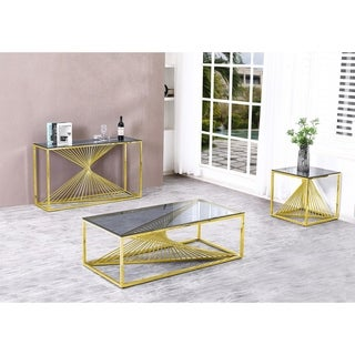 Overstock Best Quality Furniture 3-Piece Coffee Table Set with Stainless Steel Base and Smoke Glass Top (Gold)