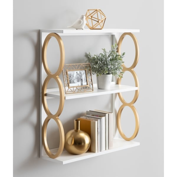 Kate and Laurel Ring Wooden 3-Tier Shelf - 28x8x31