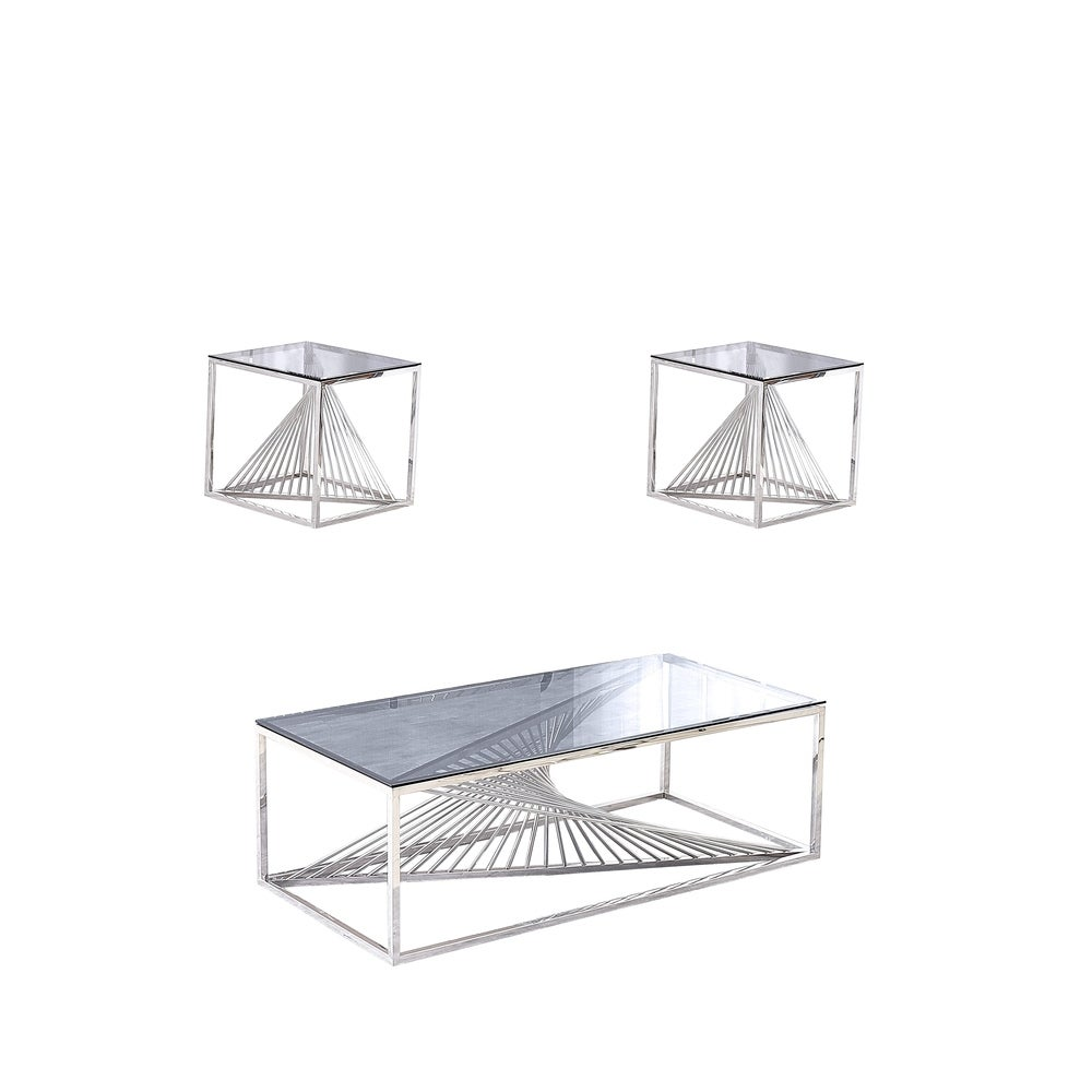Overstock Best Quality Furniture 3-Piece Coffee Table Set with Stainless Steel Base and Smoke Glass Top with 2 End Tables (Gold)