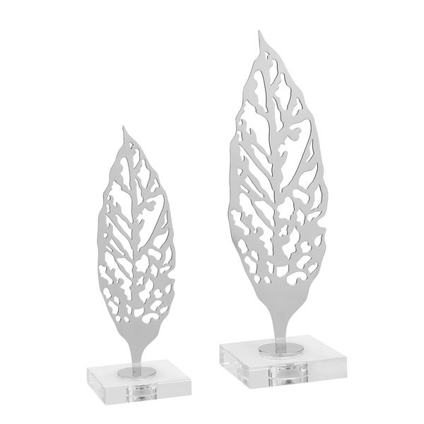 Large Modern Leaf // Chrome // Stainless Steel + Crystal