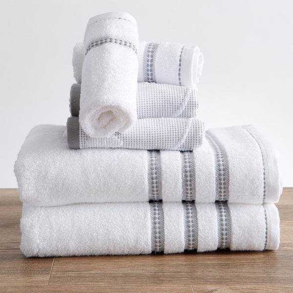 Roselyn Collection 100% Cotton Floral Jacquard Bath Towels. Opens flyout.