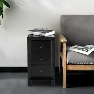 Modern and Contemporary Mirrored 3-Drawers Nightstand Bedside Table Black