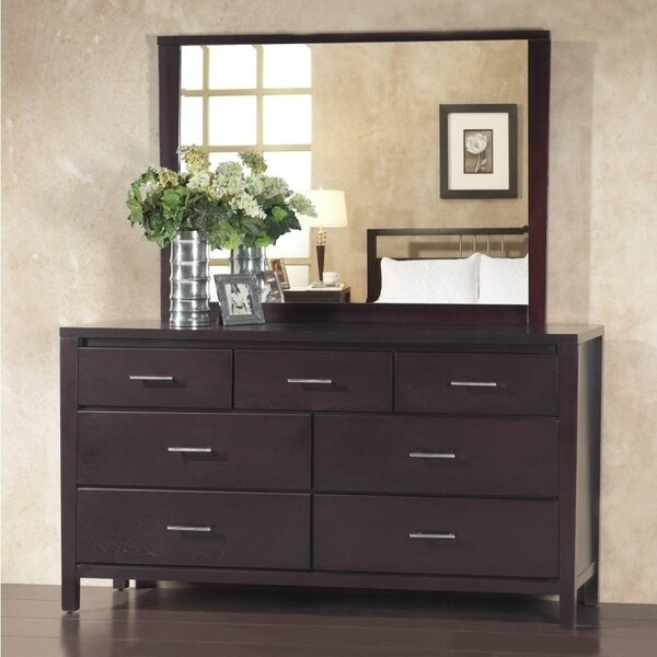 Seven Drawer Wooden Dresser with Metal Pull Handles, Espresso Brown