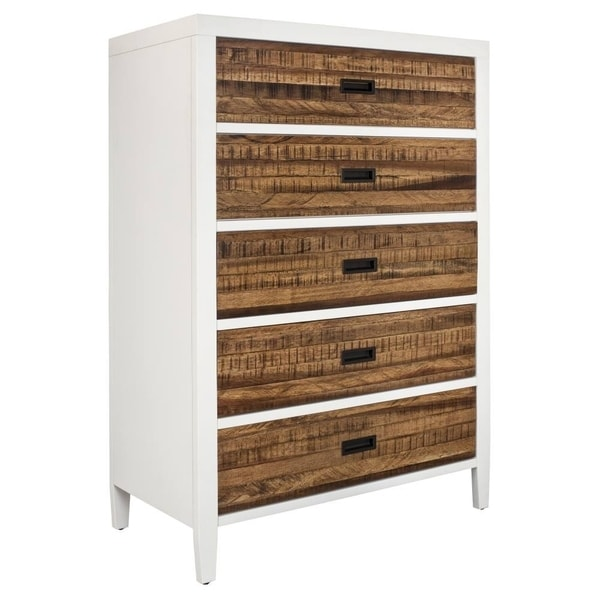 Rustic Plank Wood Five Drawer Chest with Flush Mount Pull, White and Brown