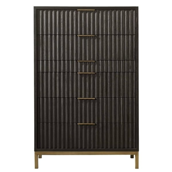 Scalloped Front Six Drawer Chest with Top Mount Brass Pull and Tubular Steel Base, Black