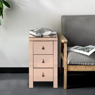 Mirrored Glass Bedside Table with Three Drawers Rose/Black