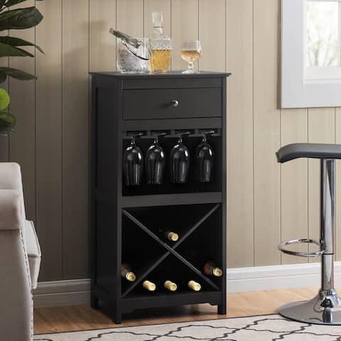 Sunjoy Black Wine and Stemware Storage Cabinet