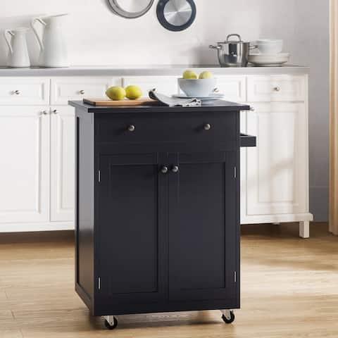Sunjoy Black Mobile Kitchen Cabinet