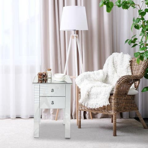 Silver Orchid Minzenti Modern and Contemporary Mirrored 2-Drawers Nightstand