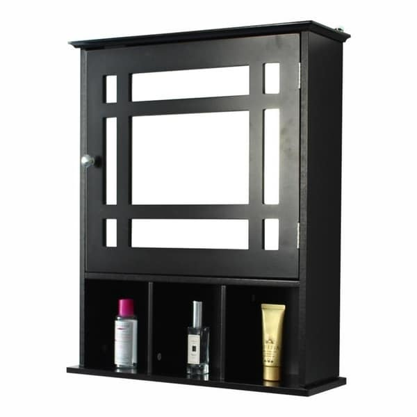 Single Door Three Compartment Storage Bathroom Cabinet 2 Colors