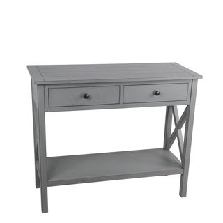 Wooden Console Table with Two Spacious Drawers and X Style Sides, Gray