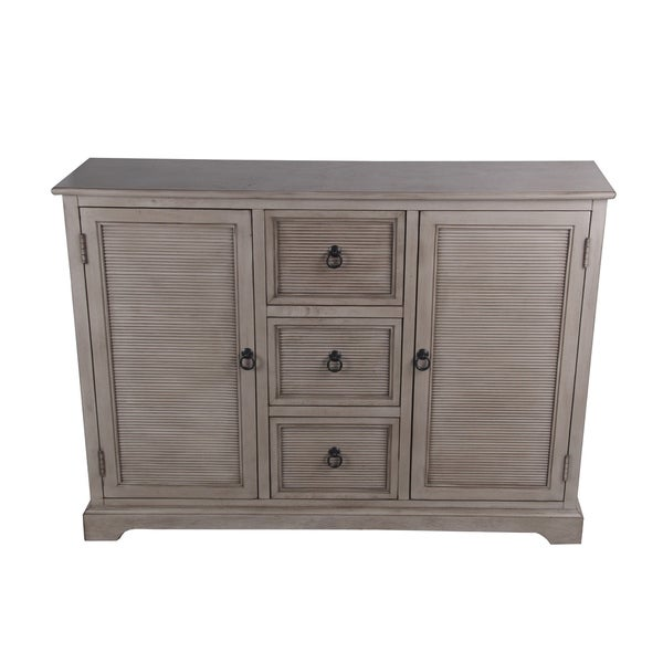 Wooden Sideboard with 3 Spacious Drawers and 2 Door Cabinets, Brown