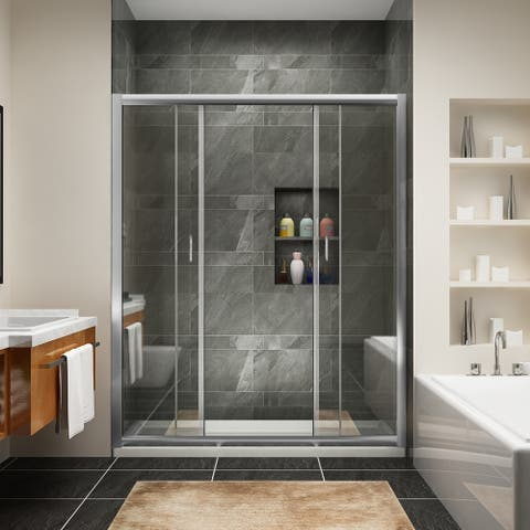 Semi-Frameless Double Sliding Doors,clear glass,chrome