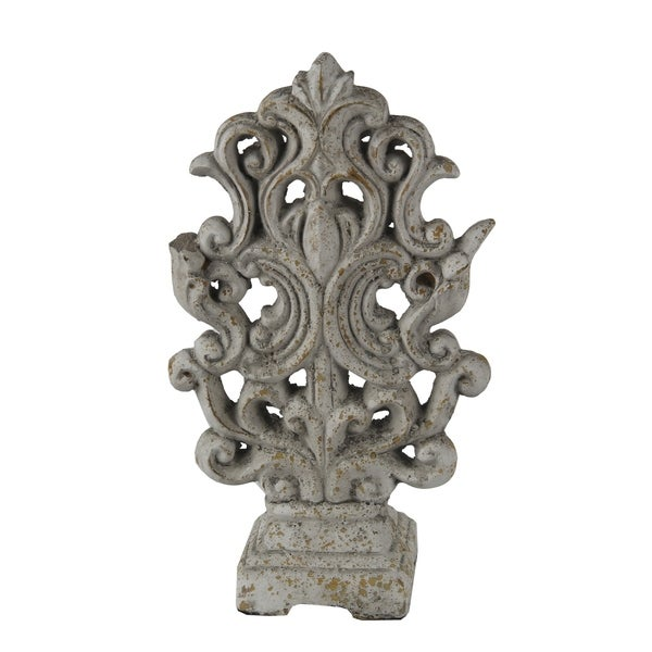 Ceramic Decorative Table Top Accent Sculpture with Baroque Style, Gray