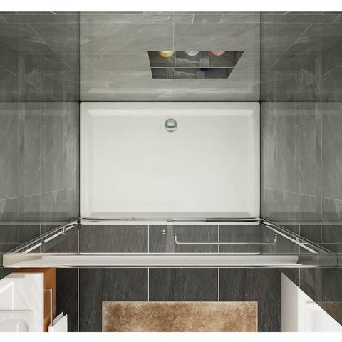 Semi-Frameless Glass Bypass 2 Way Sliding Shower Doors, Clear Glass, Chrome