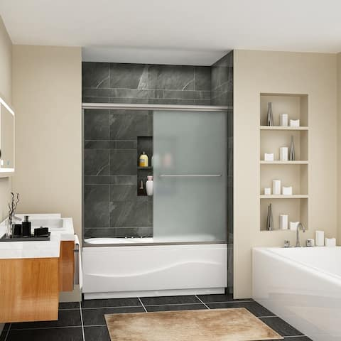 Semi-Frameless Double Sliding Door,frosted glass, brushed nickel