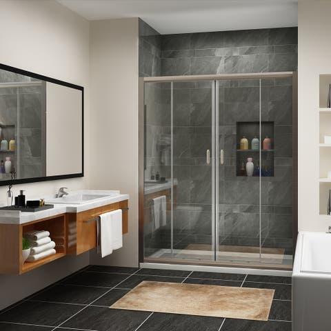 Semi-Frameless Double Sliding Doors,clear glass,brushed nickel