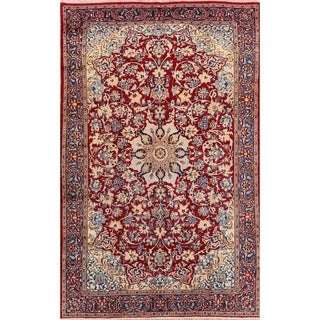 """Stunning Najafabad Persian Area Rug Hand-Knotted Red Floral Carpet - 7'7"""" x 11'9"""""""