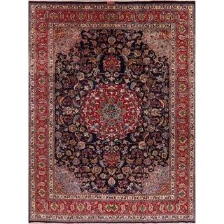 "Beautiful Navy & Red Floral Mashad Persian Area Rug Handmade Carpet - 9'9"" x 12'10"""