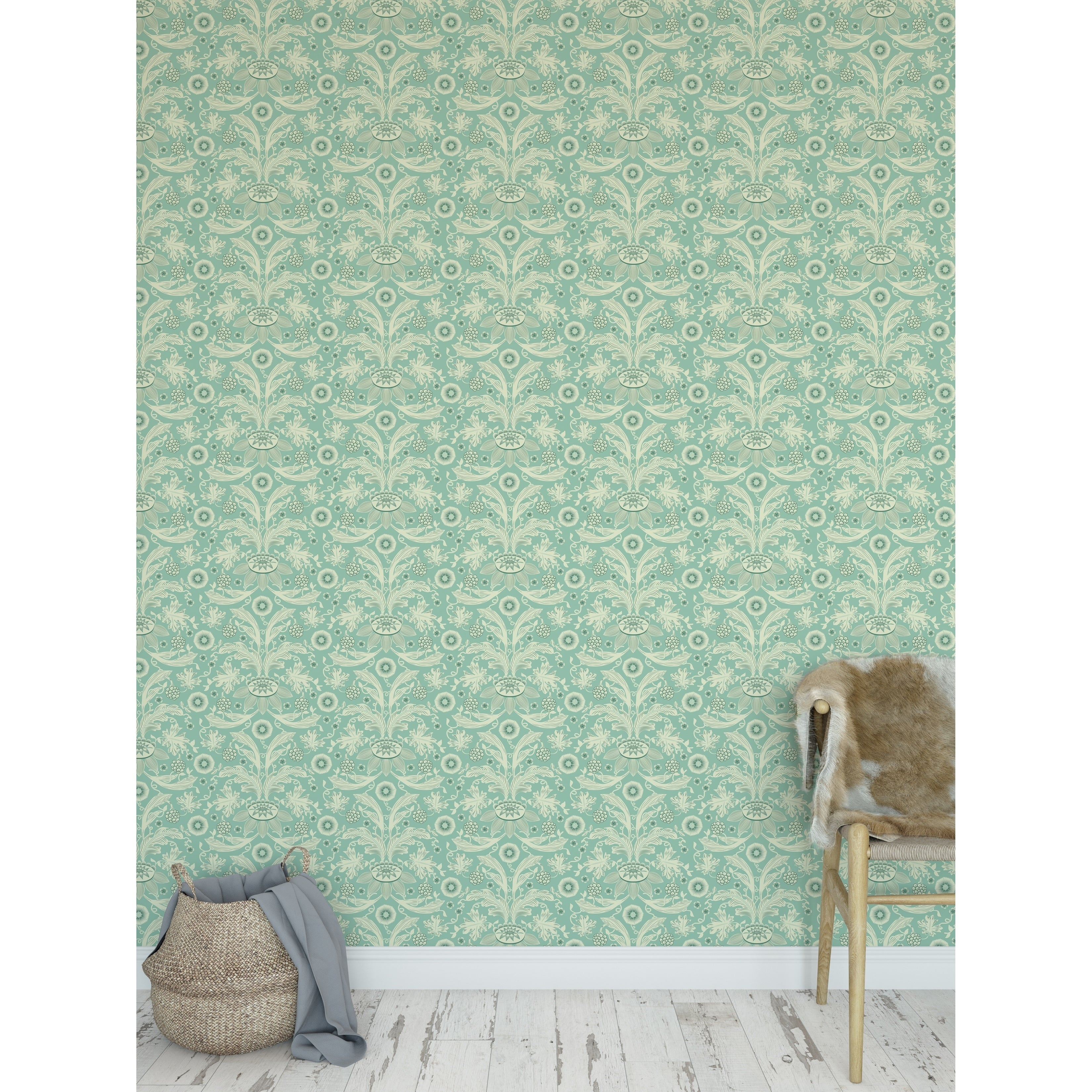 Shop Floral Damask Mint Peel And Stick Wallpaper By Kavka Designs Overstock 30637416
