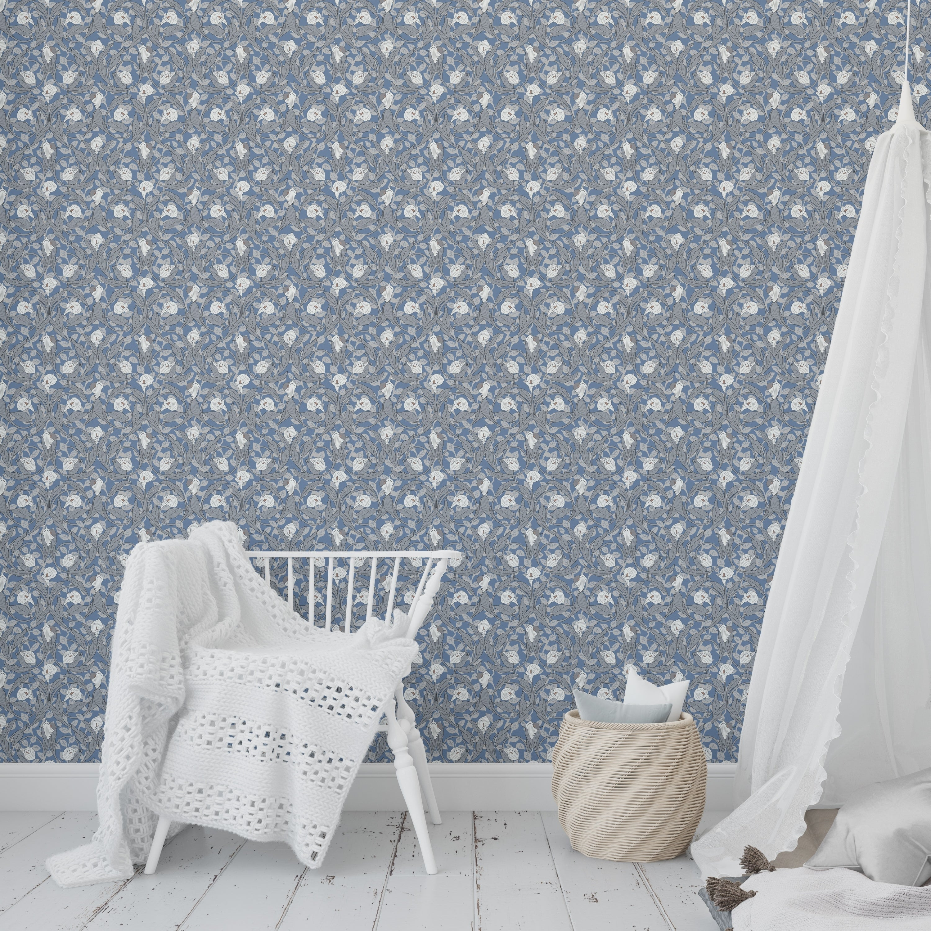 Shop Calla Lily Floral Blue Peel And Stick Wallpaper By Becky