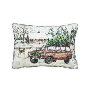 Trucking Tree Pillow Oblong