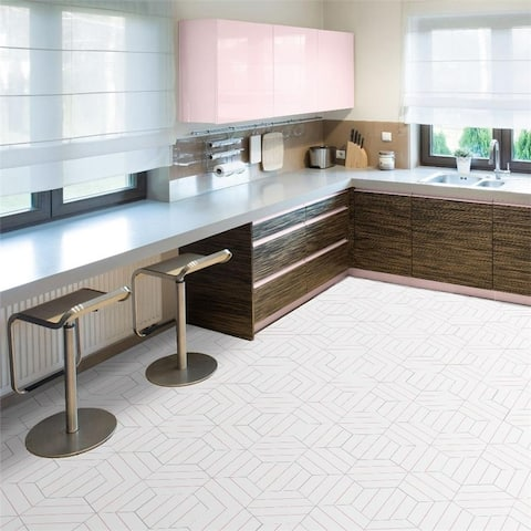 SomerTile 8.63 x 9.88-Inch Oporto Savonas Hex Porcelain Floor and Wall Tile, Rose