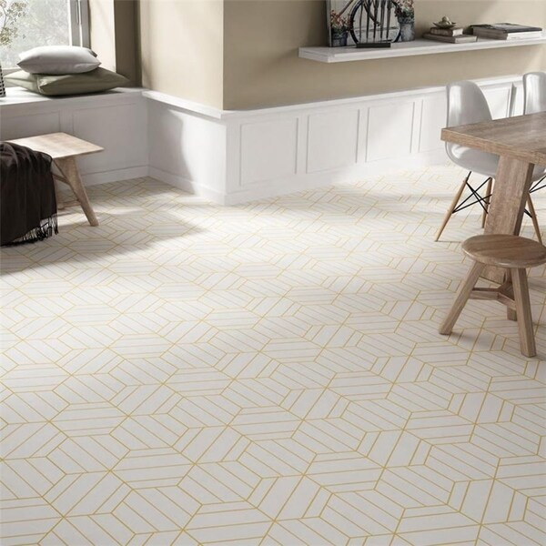 SomerTile 8.63 x 9.88-Inch Oporto Savonas Hex Porcelain Floor and Wall Tile, Dandelion (25 tiles/11.56 sqft.). Opens flyout.