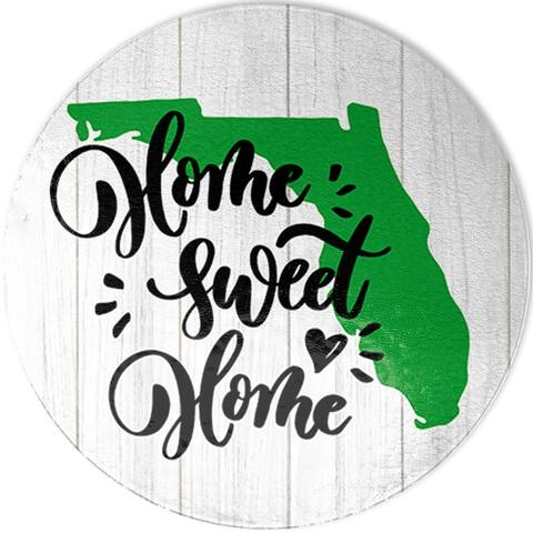 Home Sweet Florida Round Glass Cutting Board-Large