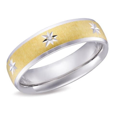 Forever Last 10K Gold Bonded over Silver 3 Diamonds 6 mm Wedding Band