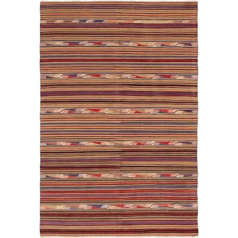"Flat-weave Bohemian Red Wool Kilim - 4'8"" x 11'11"" Runner"