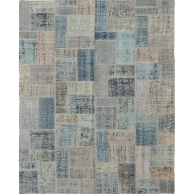 Hand-knotted Color Patchwork Blue Wool Rug - 5'8 x 7'8