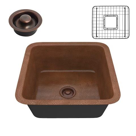 "ANZZI Malta Hammered Antique Copper Drop-in 19"" Single Bowl Kitchen Sink"