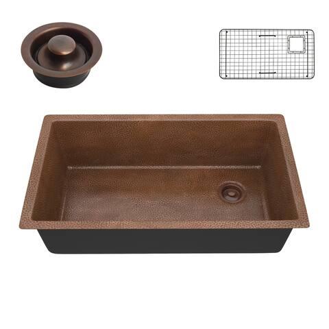 "ANZZI Byzantine Hammered Antique Copper Drop-in 31"" Single Bowl Kitchen Sink"