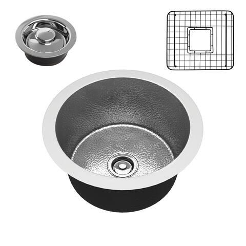 "ANZZI Rumelia Hammered Nickel Drop-in 17"" Single Bowl Kitchen Sink"