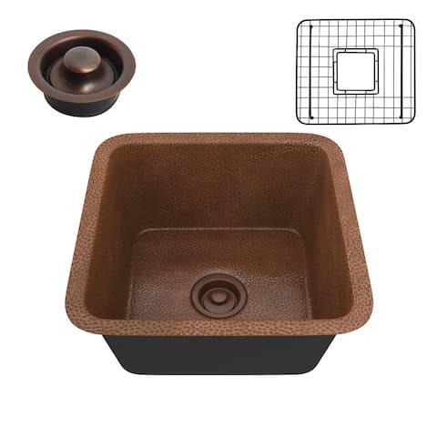"ANZZI Illyrian Hammered Antique Copper Drop-in 16"" Single Bowl Kitchen Sink"