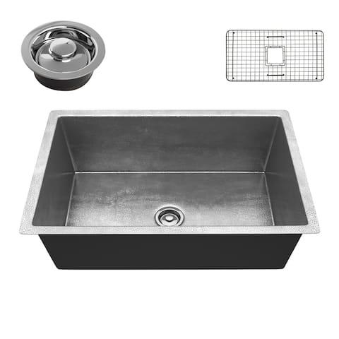"ANZZI Tereus Hammered Nickel Drop-in 30"" Single Bowl Kitchen Sink"