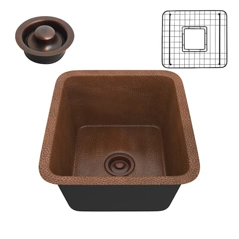 """ANZZI Aquileia Hammered Antique Copper Drop-in 17"""" Single Bowl Kitchen Sink"""