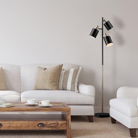 Porch & Den Minnie Matte Black 3-light Track Tree Lamp