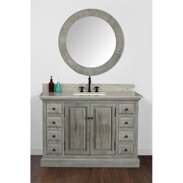 Rustic Style 48 Inch Single Sink Bathroom Vanity With Marble Top Overstock 30639198