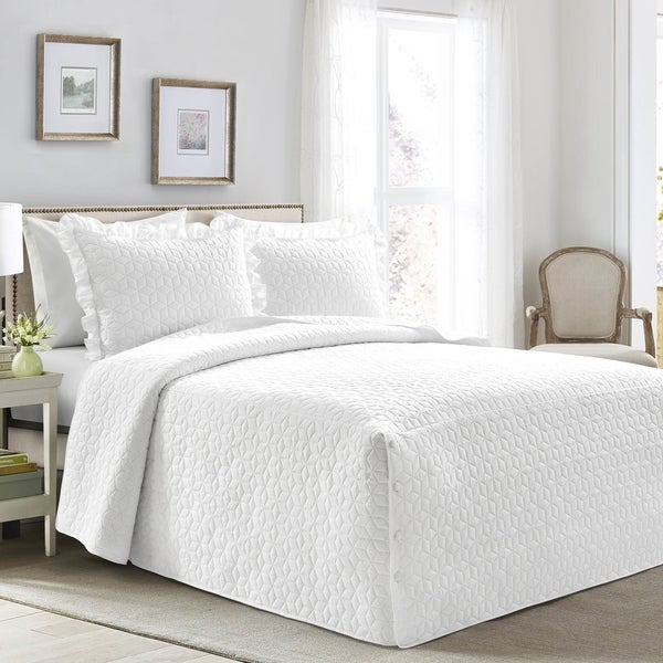 Lush Decor French Country Geo Ruffle Skirt 3-piece Bedspread Set. Opens flyout.
