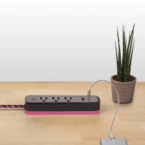 Designer Series 6-ft 3-Outlet 2 USB Surge Protector Power Strip