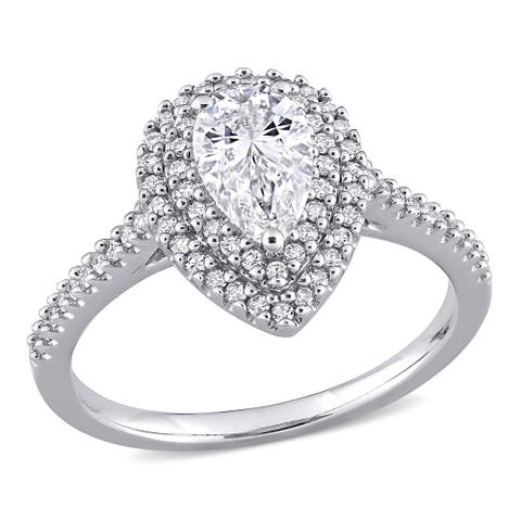 1ct TGW Pear-Cut Moissanite and 1/3ct TDW Diamond Halo Engagement Ring in 14k White Gold by Miadora