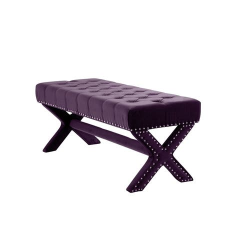 Collins Velvet Button Tufted Bench with Silver Nailhead Trim