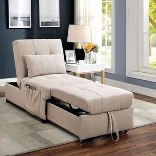 Furniture of America Avita Contemporary Linen Convertible Futon Chair