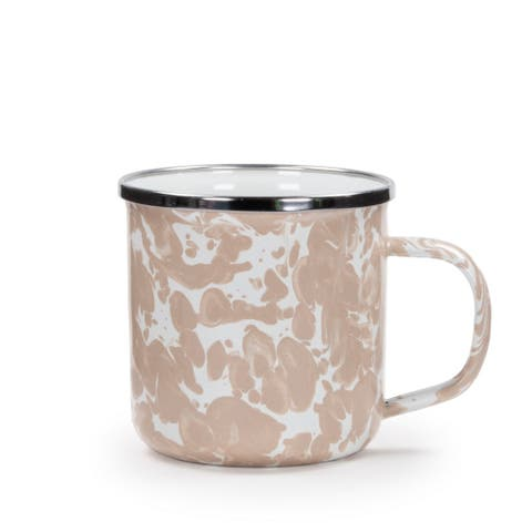 Golden Rabbit Taupe Swirl Enamelware Adult Mugs (Pack of 4)