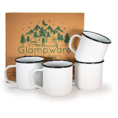 Glampware Black Rim Enamelware Mug (Pack of 4)