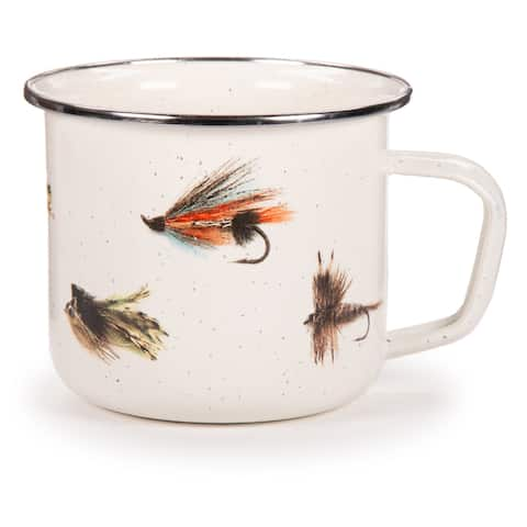 Golden Rabbit Fishing Fly Enamelware Grande Mugs (Pack of 4)