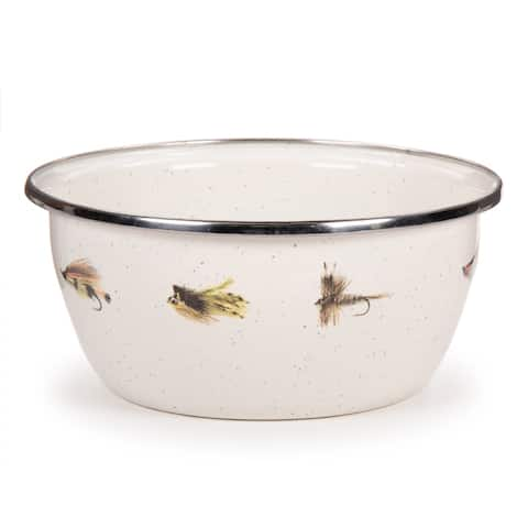 Golden Rabbit Fishing Fly Enamelware Salad Bowls (Pack of 4)