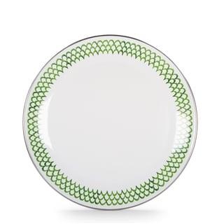 Golden Rabbit Green Scallop Enamelware Dinner Plates (Pack of 4)